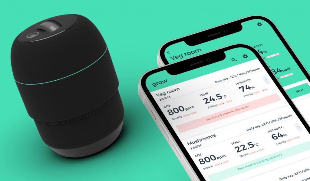 Physical grow room sensor & data shown on iPhone app