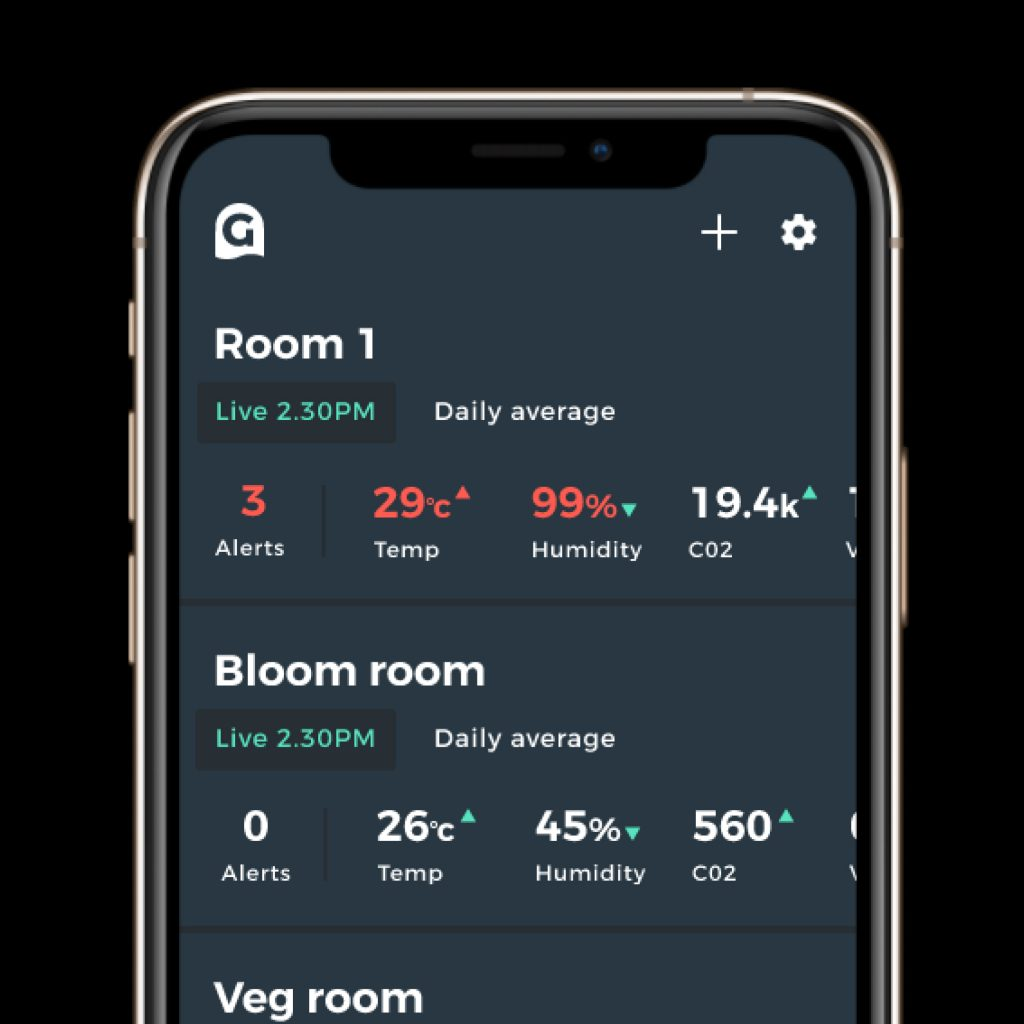 The Grow App showing data pulled in from The Grow Sensor